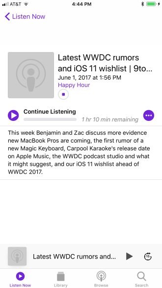 iOS 11 Podcasts Listen Now
