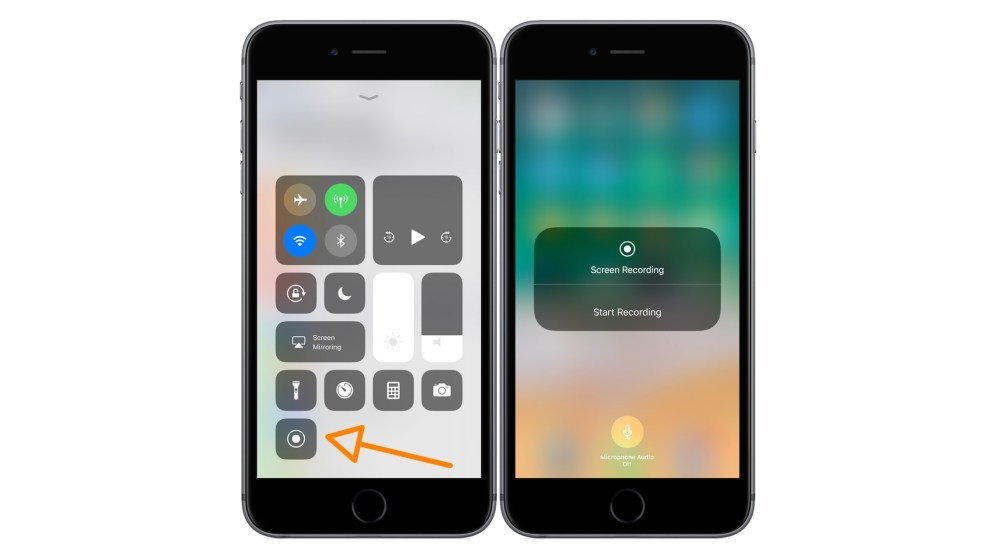 iOS 11 Screen Recording Enabled in Control Center