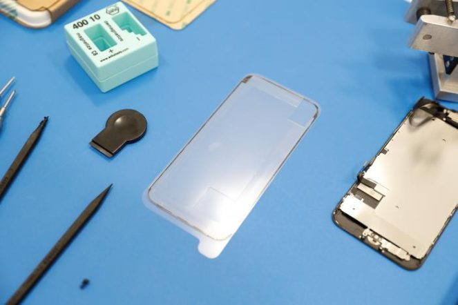 Apple demonstrates phone repair service in Sunnyvale, California