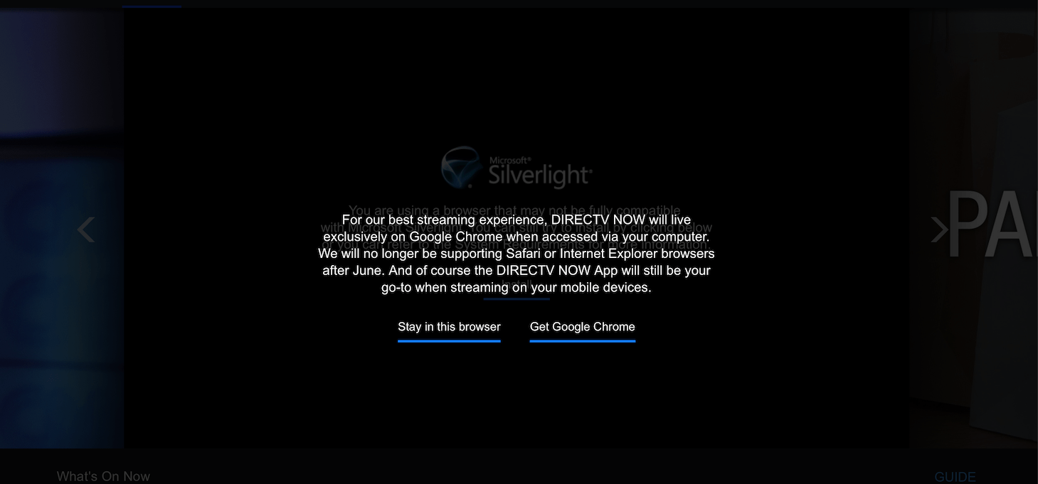 DirecTV Now dropping support for Safari, Chrome exclusive