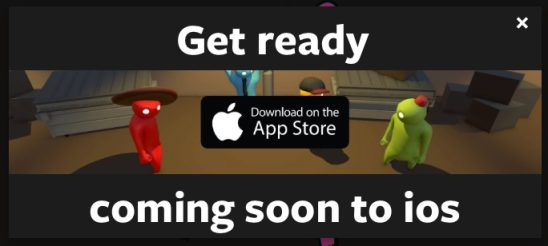 Fake alert advertising Gang Beasts for iOS