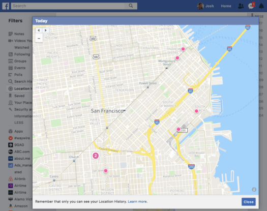 Facebook-Location-History-Map