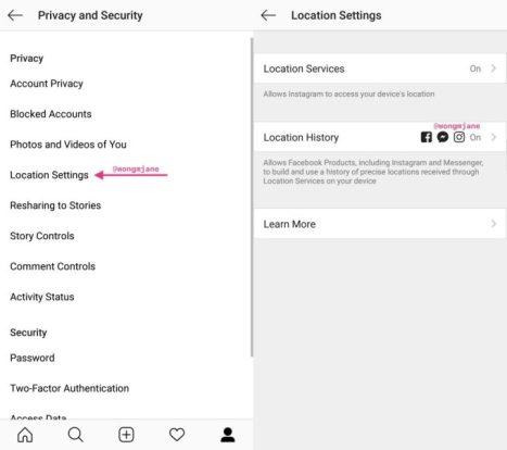 Instagram-Location-History-Settings