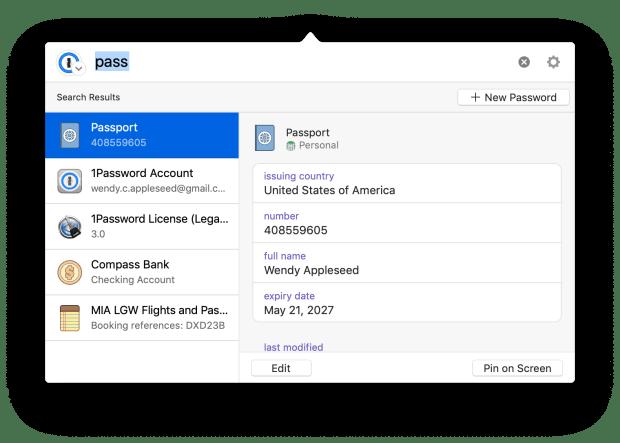 1Password mini Mac update search