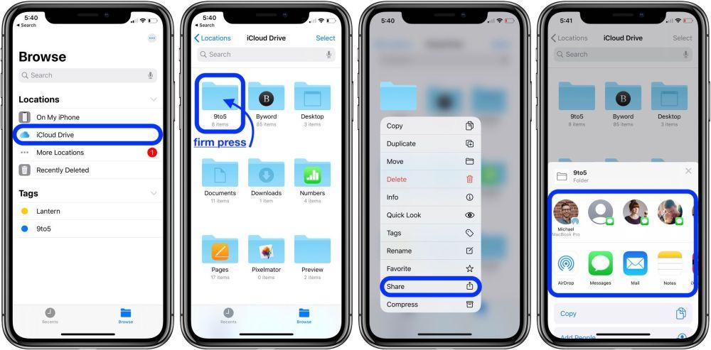 как поделиться папками iCloud Drive для iPhone и iPad