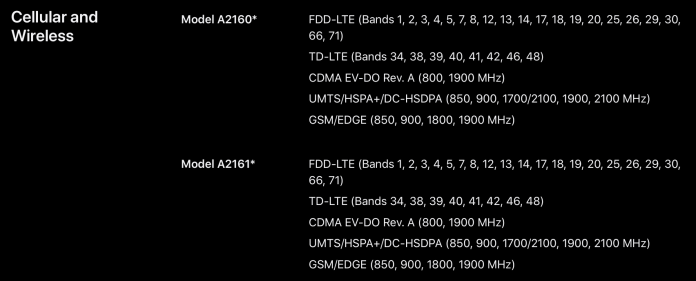 check iPhone 11 LTE bands
