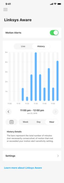 Linksys Aware motion sensing data iOS app