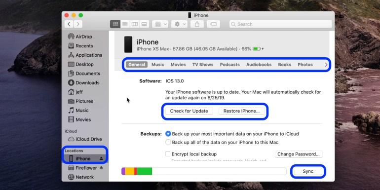 Cách đồng bộ iPhone iPad Mac macOS Catalina