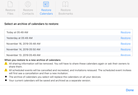 How to restore deleted iCloud contacts calendars bookmarks walkthrough 4