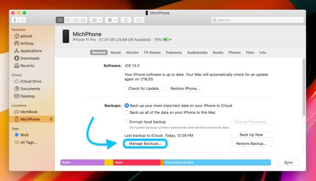 iPhone: How to delete iPhone backups macOS Catalina walkthrough 1