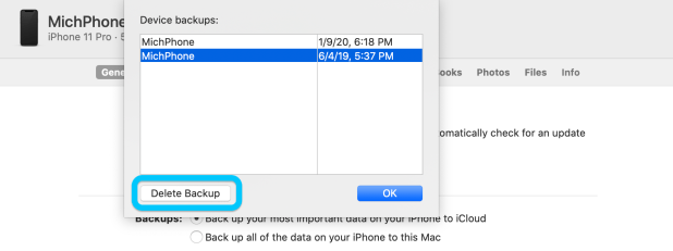 iPhone: How to delete iPhone backups macOS Catalina walkthrough 2