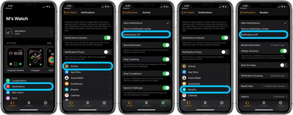 Как отключить оповещения об активности в Apple Watch