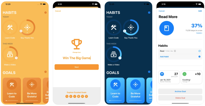 Create habits with iPhone and Apple Watch - Achievements app