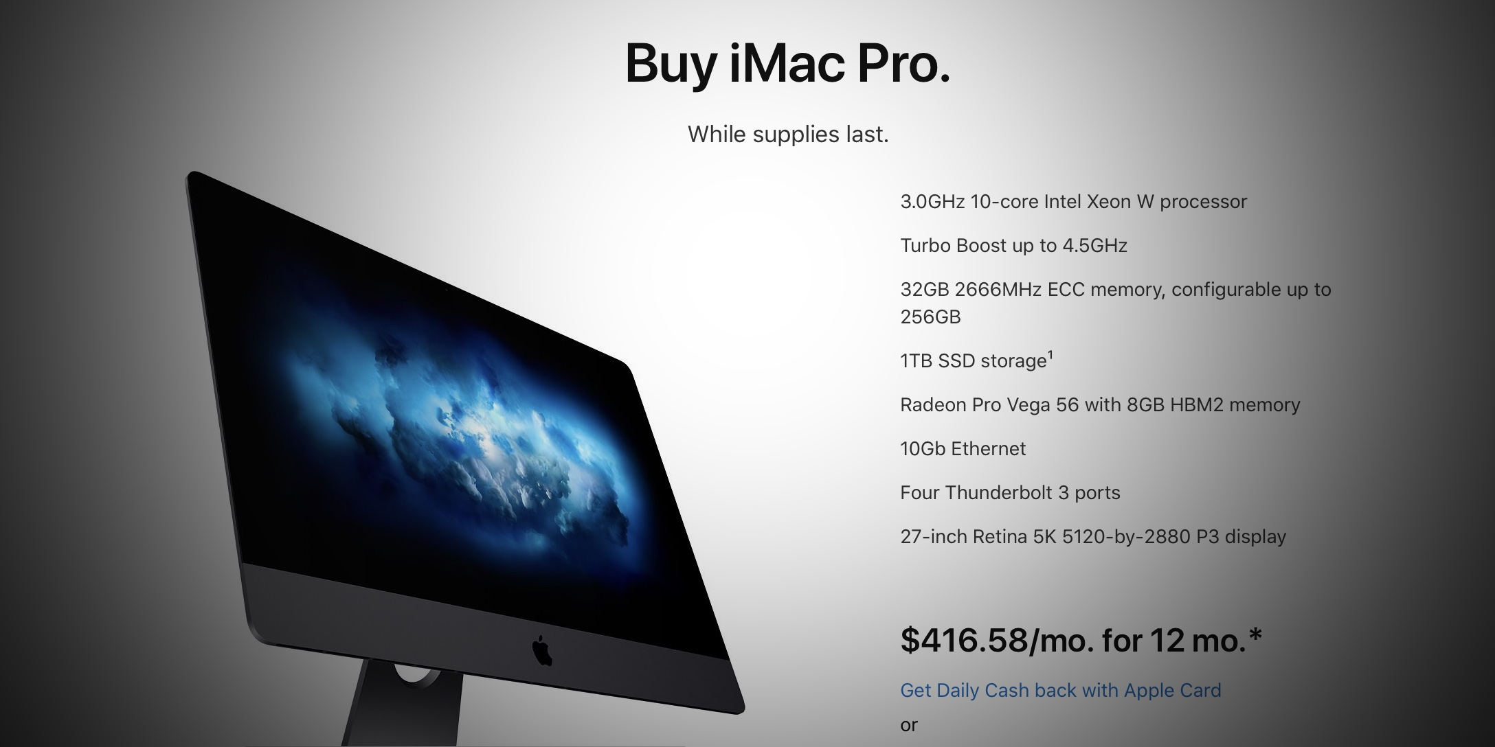 Apple discontinues iMac Pro, Apple Store says buy 'while supplies last'