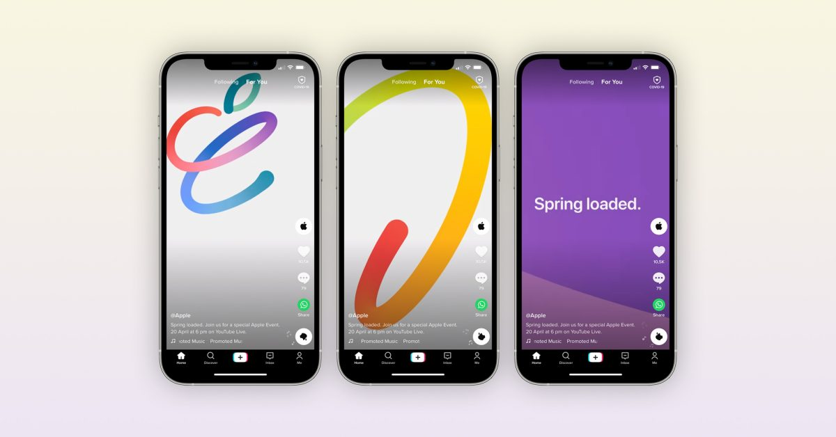 photo of Apple promotes special 'Spring Loaded' event on TikTok with short ad image