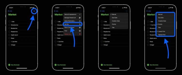 How to sort iPhone Reminders walkthrough