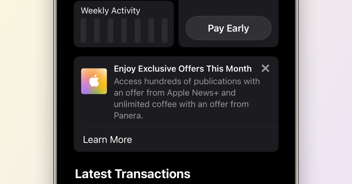Apple now promoting its services with 'exclusive offers' for Apple Card users