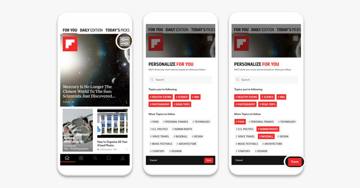 Flipboard now lets users choose the topics shown in the newsfeed