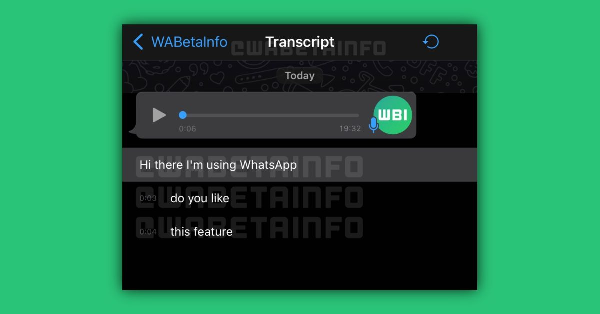 WhatsApp for iOS to add voice message transcription feature thumbnail