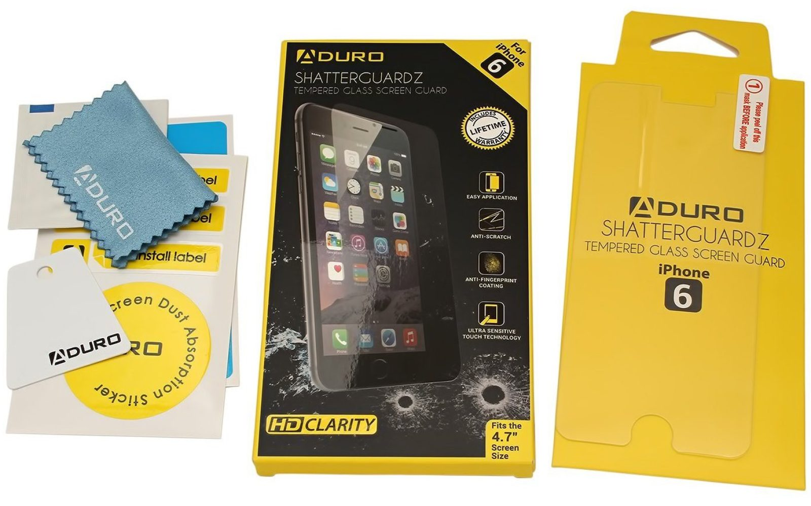 newest 6dbb3 2b3fc Aduro SHATTERGUARDZ Tempered Glass iPhone 6/Plus Screen Protector ...