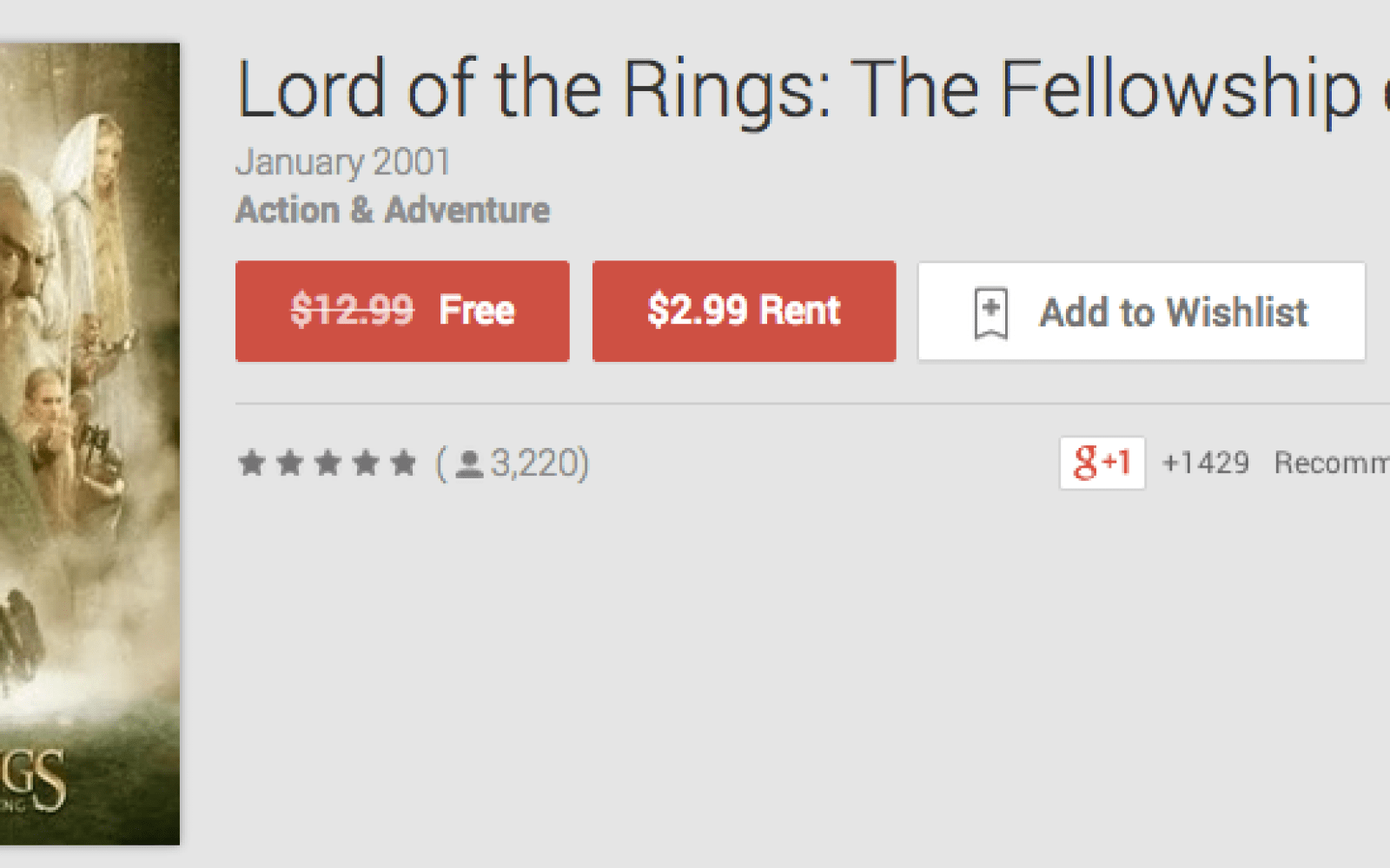 """Free HD download of """"Lord of the Rings: The Fellowship of the Ring"""" from Google Play"""