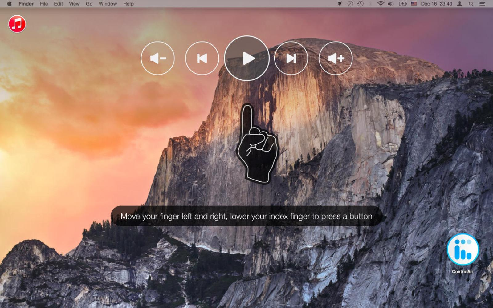 ControlAir adds iTunes and Spotify gesture control to any Mac for free