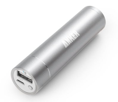 Anker® 2nd Gen Astro Mini 3200mAh Lipstick-Sized Portable Charger External Battery Power Bank with PowerIQ(TM) Technology for iPhone, Samsung, HTC and More (Silver)