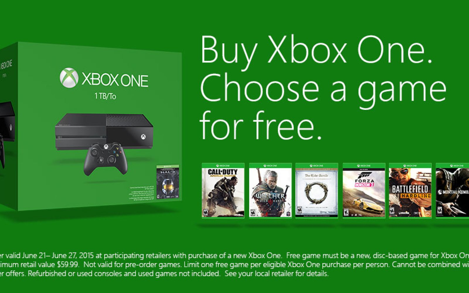 Get a free game of your choosing when you buy an Xbox One