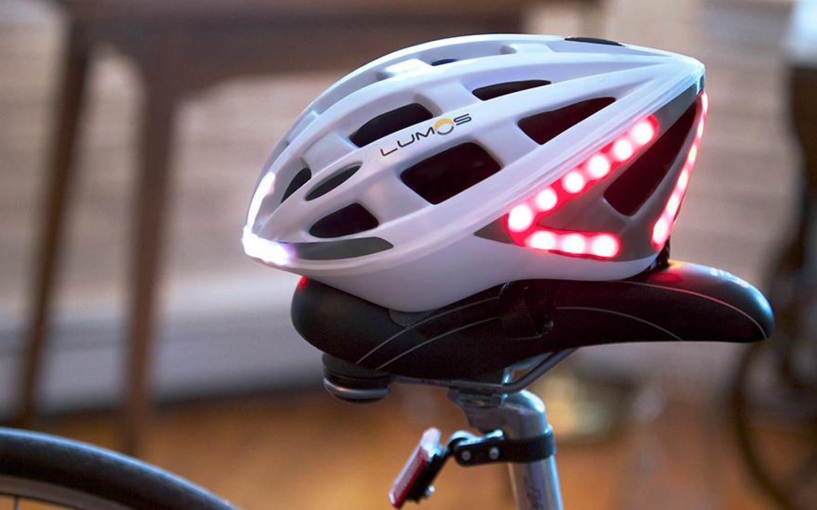 The Lumos Helmet provides the technology needed to bike safely with built-in LEDs and handlebar controls