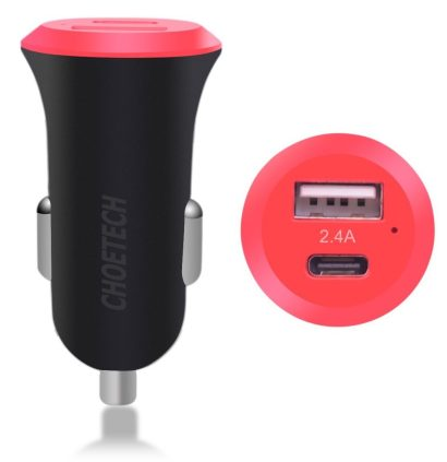 CHOETECH Car Charger with USB-C Female Output and USB Charging Port
