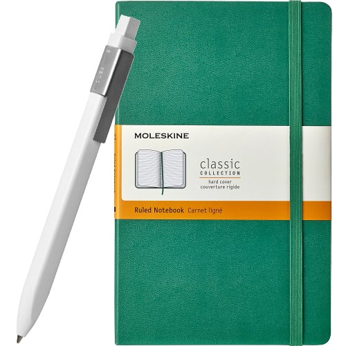 Moleskine Classic Ruled Notebook & Classic Click White Ballpoint Pen