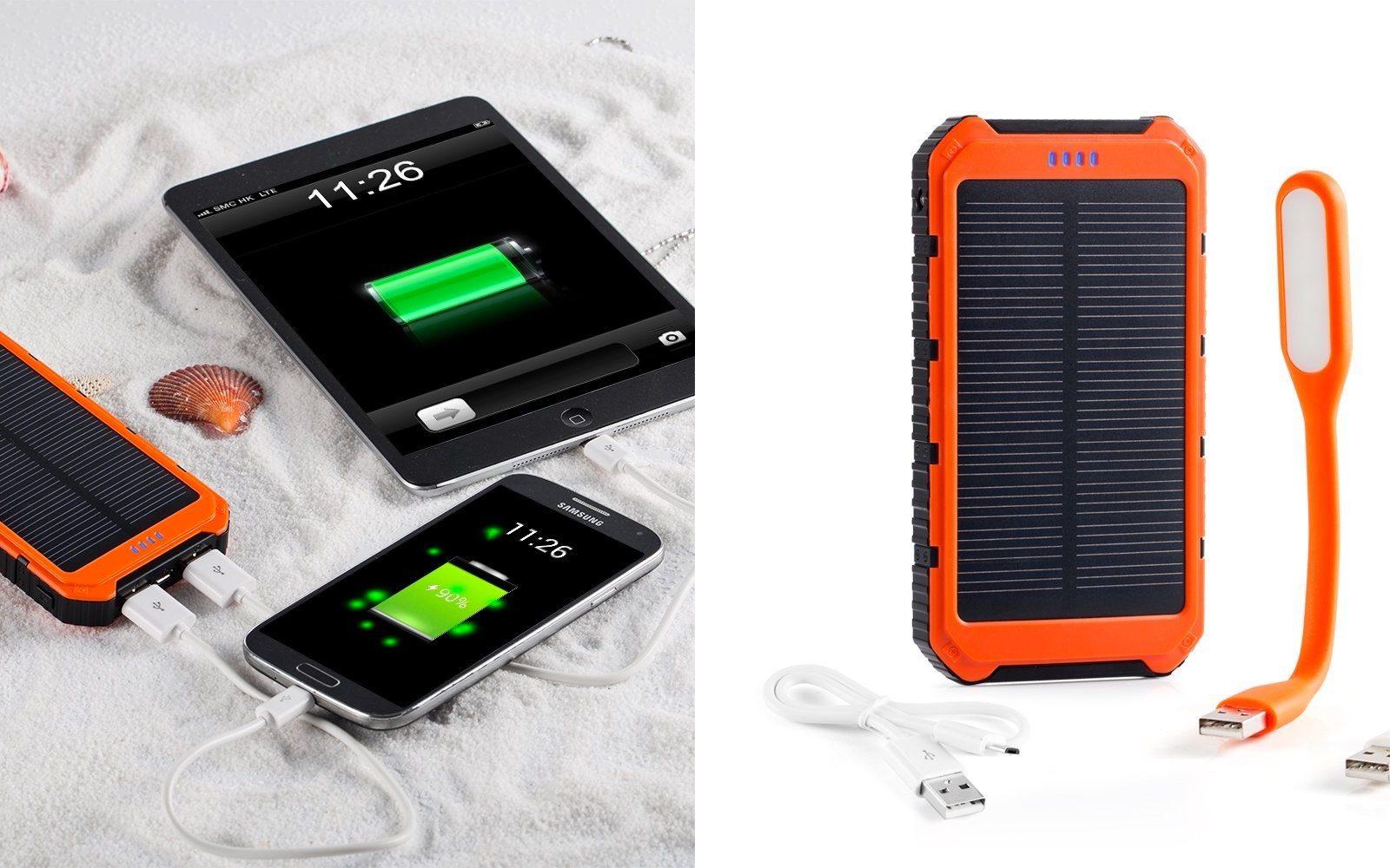 Rugged 10 000mah Solar Dual Usb Battery W 2 Usb Lamps