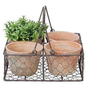 esschert design aged terra cotta pots in wire basket
