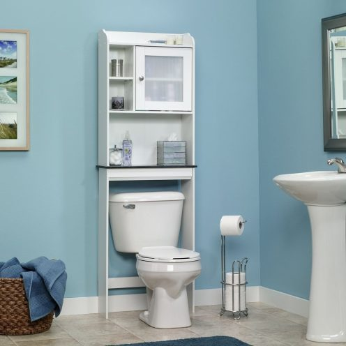 sauder white caraway etagere bath cabinet