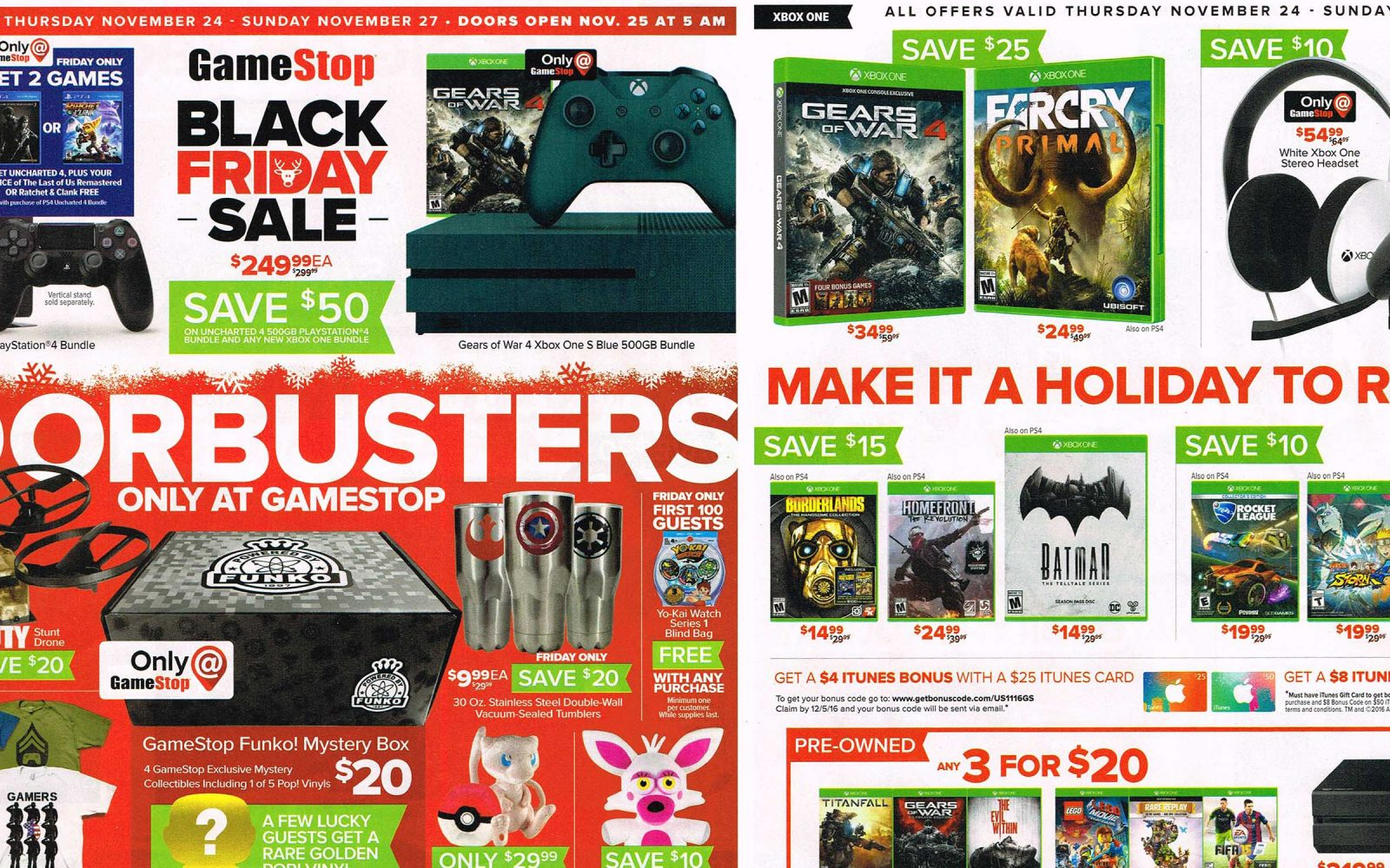 gamestop black friday 2016 ad ps4 bundle extra game 250 deus ex mankind bioshock collection 30 ea more - Is Gamestop Open On Christmas Day