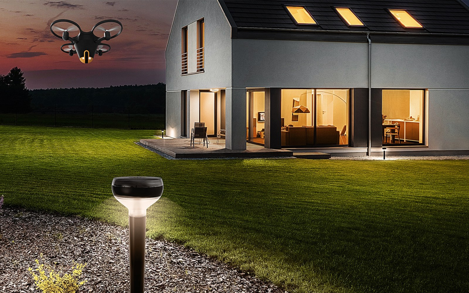 The Sunflower Home Awareness System deploys a drone when something is amiss outside