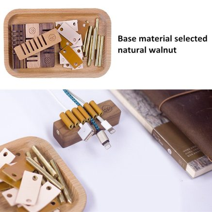 Natural Wood Desktop Cable Organizer