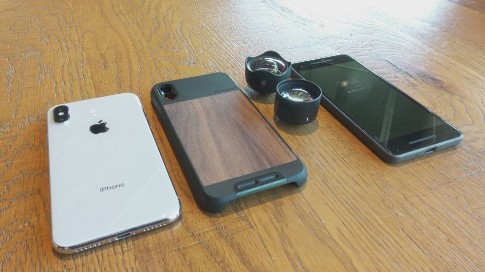 iPhone X, Moment Walnut Photo Case, Wide Lens, Tele Lens, and Pixel 2