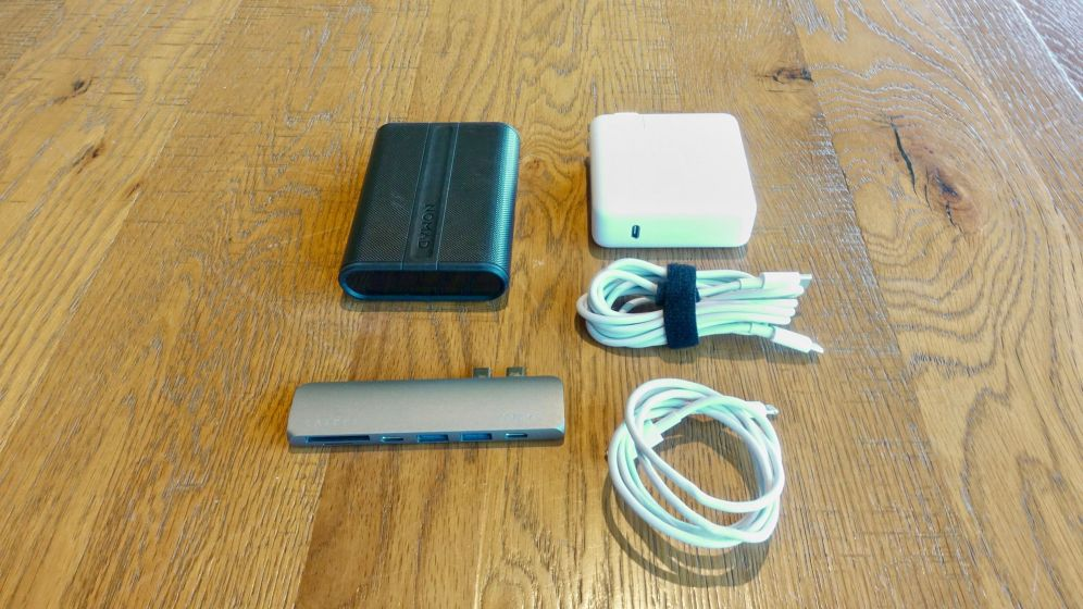 Nomad PowerPack, Apple MacBook Pro Type-C Power Adapter, USB-C Cable, Lightning to USB-C Cable, Satechi Pro Hub