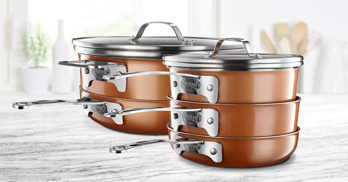 Refresh your pots and pans with Gotham's 10-piece Stackable Cookware at $69 (Reg. $120)