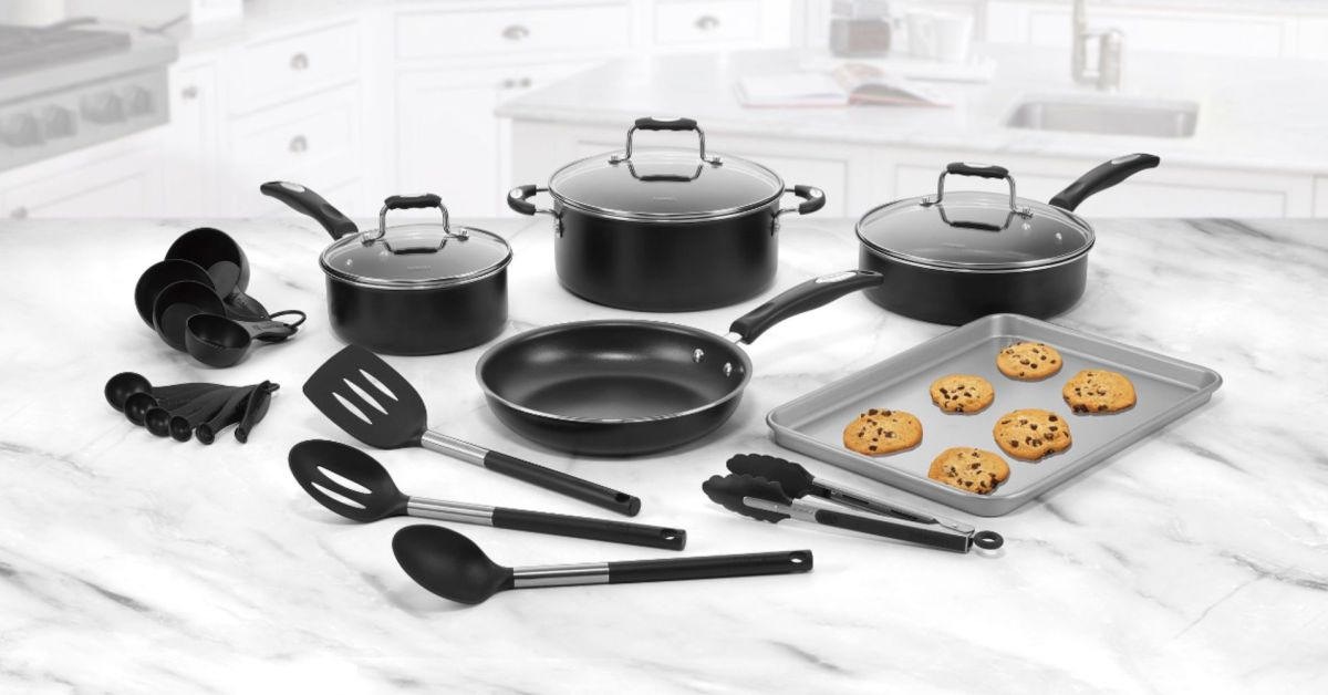 This 22-pc. Cuisinart Complete Cookware Set with utensils dropped to $60 today ($120 off)