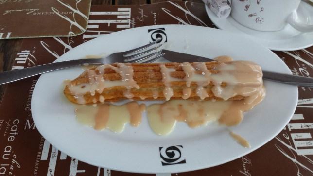 Fancy churro. Part of a complete breakfast in Puebla - AGreatJourney.com