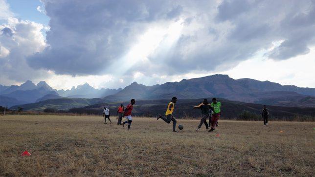 Drakensberg Soccer outside Didima Camp