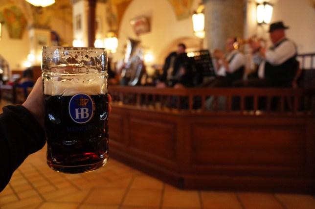 A beer and oompa band at Hofbrauhaus Munchen