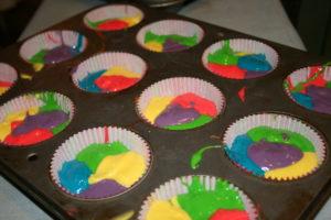 cupcake batter ready to bake