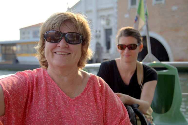On the boat leaving Venice