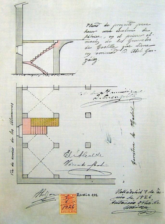 Fragmento de planta 1926 - Proyecto de escalera a Sótano