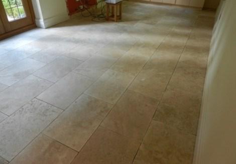 Travertine Floor Before Burnishing