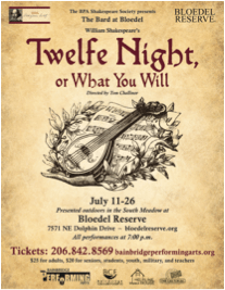 Shakespeare's comedy will be performed on 3 weekends -- July 11th to 26th -- in the South Meadow at Bloedel Reserve