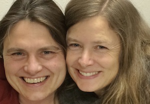 GO Figure! Facilitator Tracy Lang (left) and BIMA's Education Director Kristin Tollefson at BCB's Winslow studio
